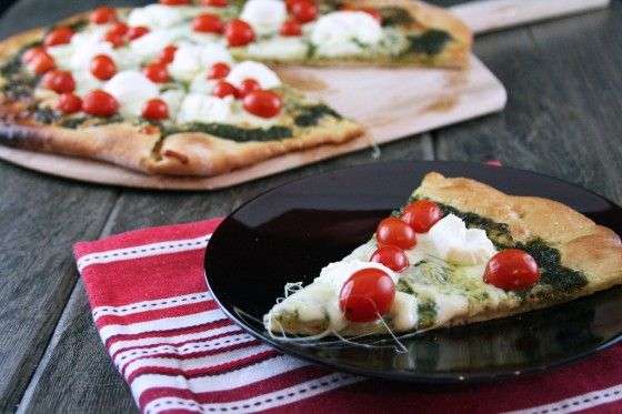 Pesto-Ricotta-and-Cherry-Tomato-Pizza | Cooking | Pinterest