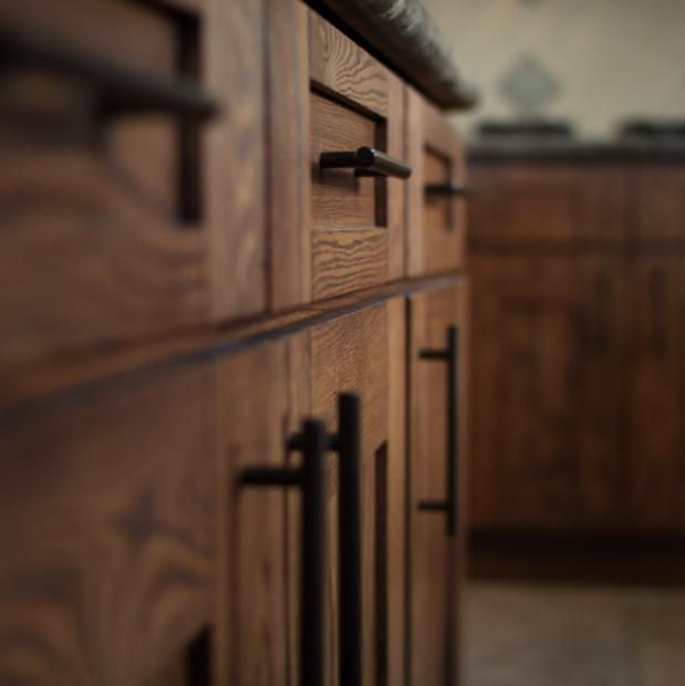 Interesting handles pulls on oak cabinets Like the color