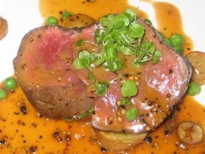 roasted beef tenderloin with mustard saffron pan sauce