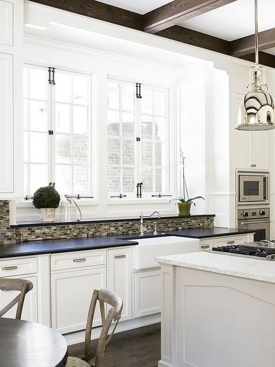 Love these big kitchen windows tile kitchen remodel for Large kitchen window