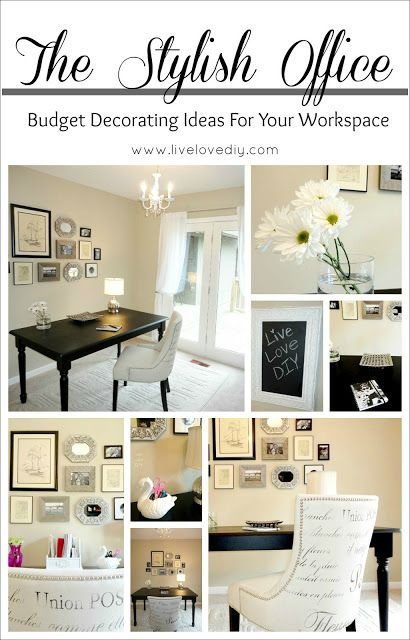 Pin by nicole farrell on workspaces pinterest for Office decorating ideas on a budget