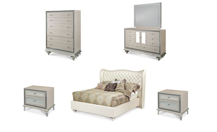 6 Pc Hollywood Swank Pearl Crystal Croc Queen Bedroom Set