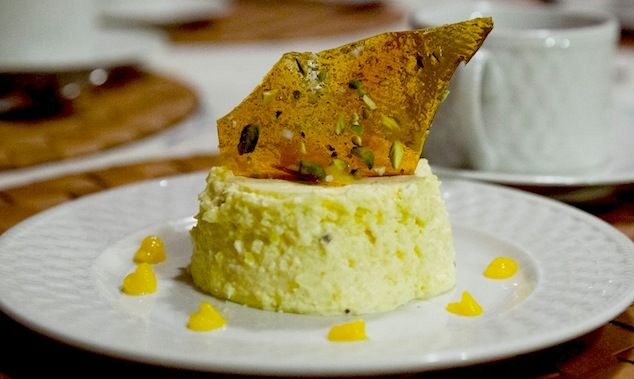 ... pure mango flavor, mango panna cotta with salted pistachio brittle