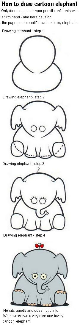 How to draw a cartoon baby elephant