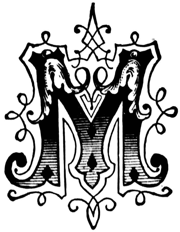 M Ornamental Letter Clipart Etc Calligraphy Pinterest