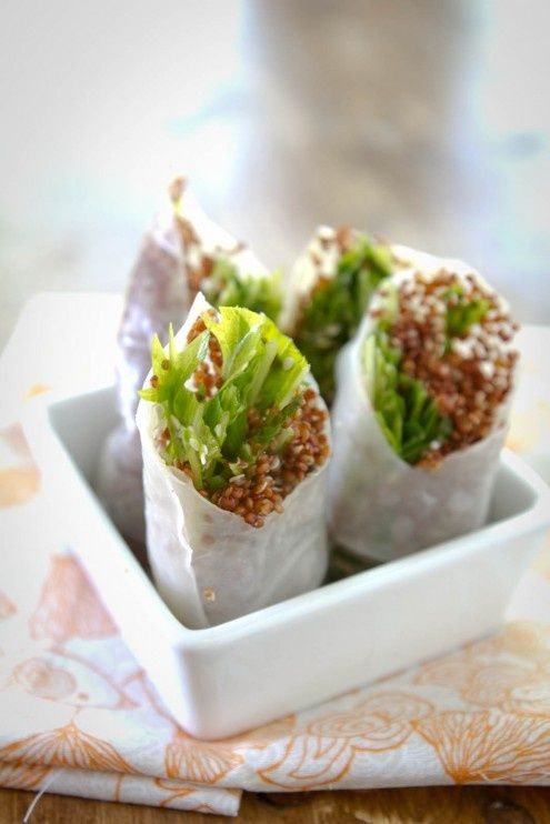 Sesame-Ginger and Quinoa Spring Rolls - Where Home Starts