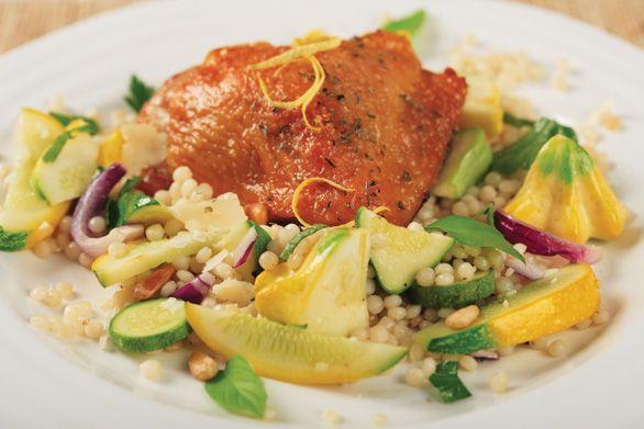 Herbed Summer Squash & Pasta Salad with Crispy Chicken Thighs. Chicken ...