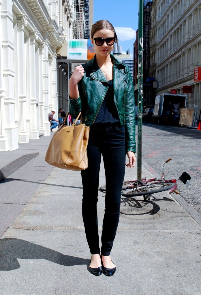 Green leather jacket, such a sexy twist on the classic black