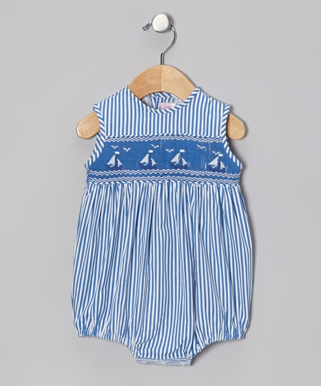 Blue stripe smocked sailboat bubble bodysuit infant