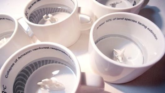 #Ceramic #mugs made by Only 1°C Change Can Affect Us encourage #coffee time contemplation with messages about the impact of global warming inside each mug. #motivation #green