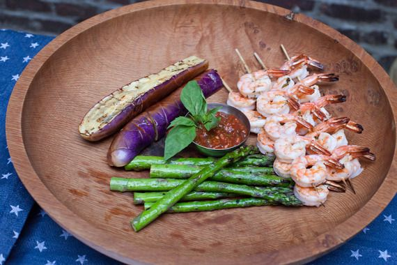 Grilled Shrimp Cocktail with Eggplant Caponata & Asparagus | Recipe