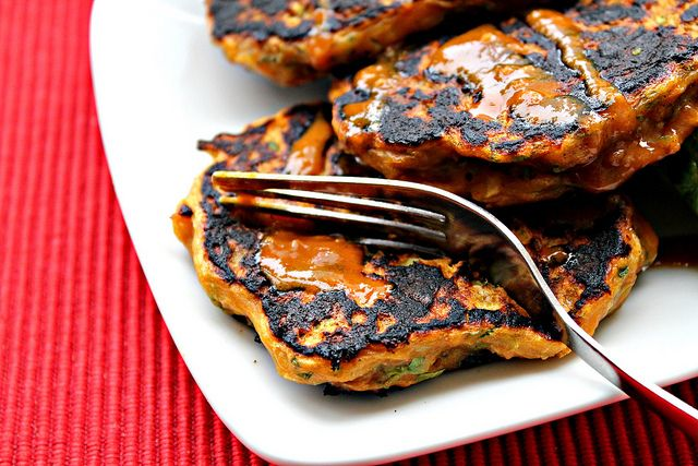 Thai Curried Zucchini Fritters with a Spicy Peanut Sauce, Mango Bell ...