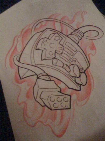 Nes Controller Tattoo Design