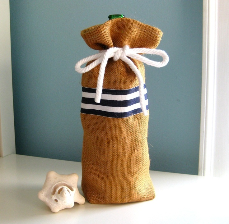 Burlap Wine Gift Bag Nautical Navy Blue Stripe