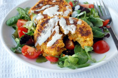 ... amp onion patty and tomato amp basil salad with yogurt tahini sauce