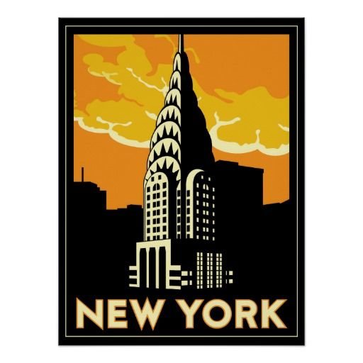 retro travel poster new york city pinterest. Black Bedroom Furniture Sets. Home Design Ideas