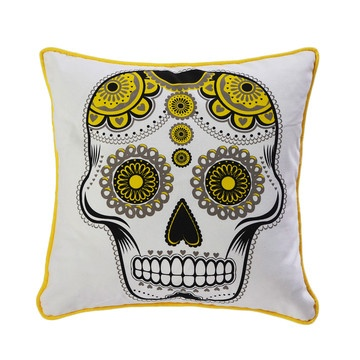 Sugar Skull 18x18 Black Yellow now featured on Fab.
