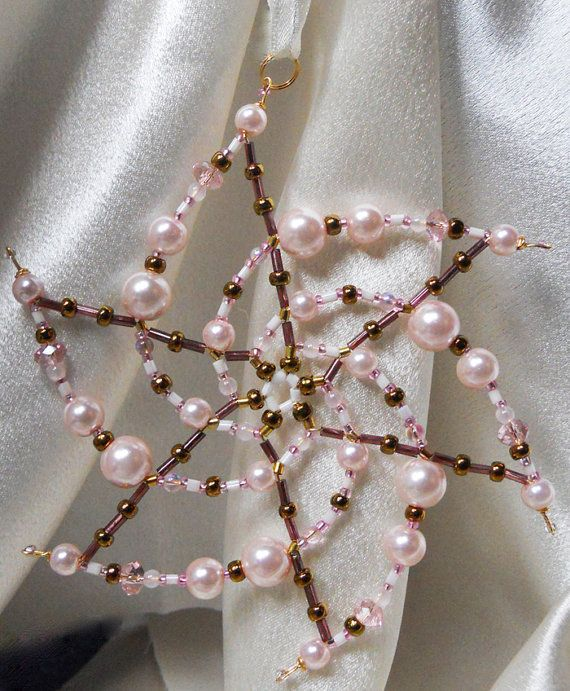 Bead Star Snowflake Ornament/ Pink Bronze 6pointed by FallnStars, $25.00