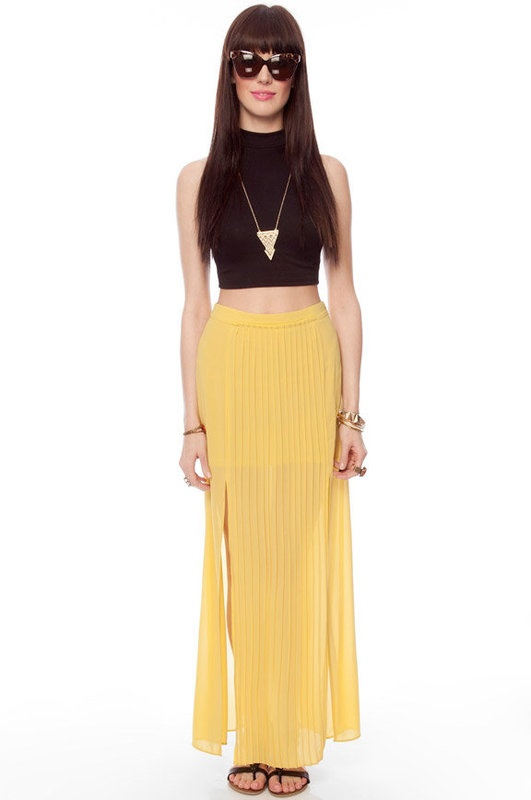 Yellow maxi skirt wearables pinterest