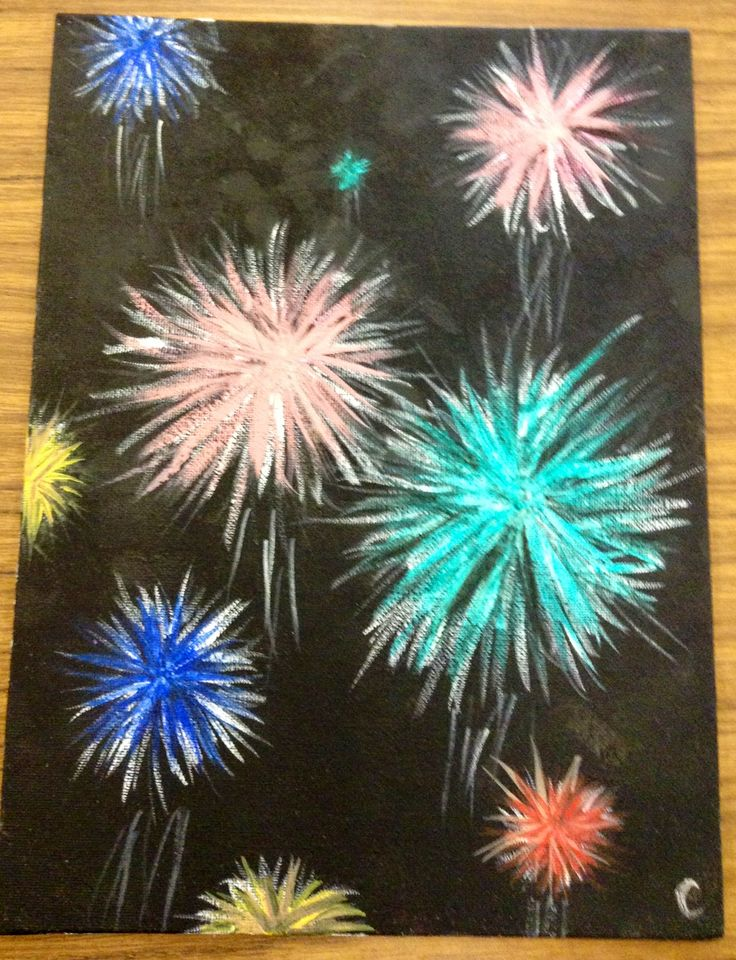how to draw fireworks with chalk