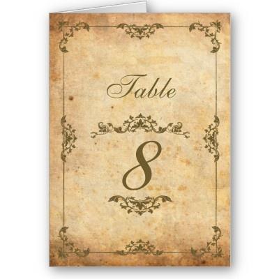 Vintage Motif Wedding Reception Table Number Cards by Eternalflame Vintage Table Numbers