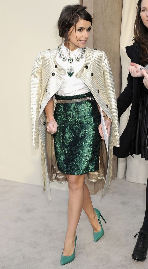 Miroslava Duma at burberry prorsum | Green sequin skirt perfect for the Holidays! #sparkle