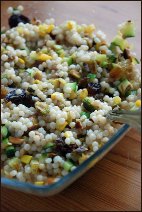 summer squash couscous with sultanas pistachios and mint made this ...