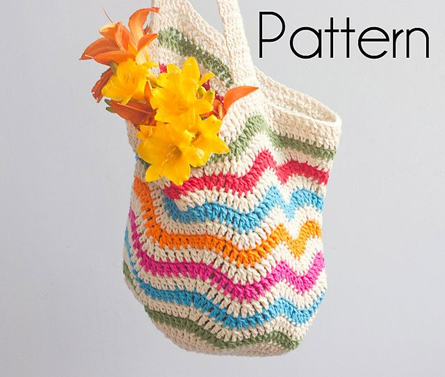 X993 Crochet Pattern : Crocheted Chevron Market Bag pattern by Judy Stalus