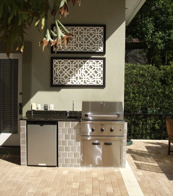 Small outdoor kitchen outdoor kitchens pinterest for Small backyard kitchen designs