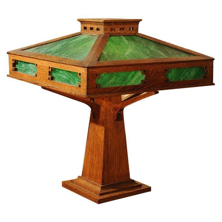 mission oak arts and crafts table lamp arts crafts era pinterest. Black Bedroom Furniture Sets. Home Design Ideas