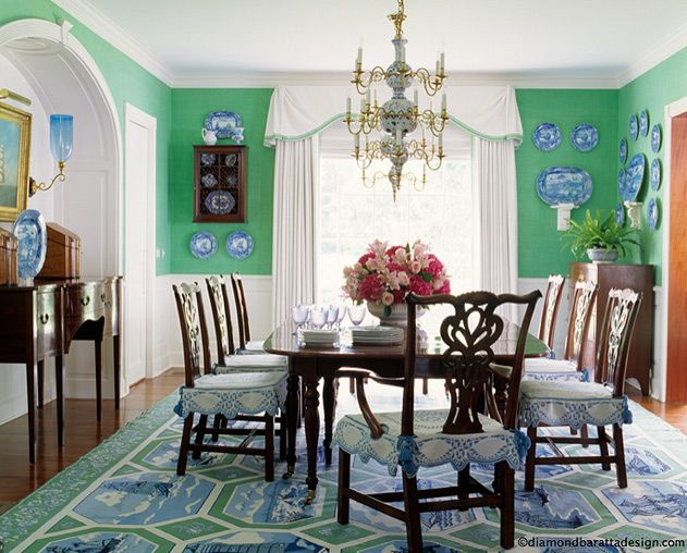 Kelly green and blue dining room blue and white love for Light green dining room