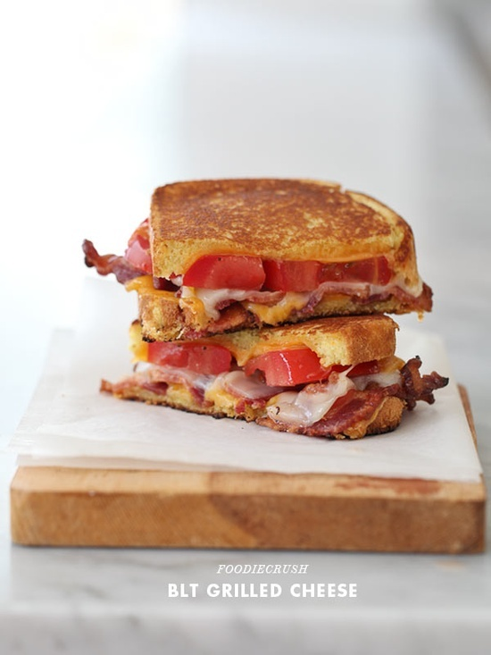 BLT Grilled Cheese Ingredients 2 slices egg bread 4 slices cheddar ...