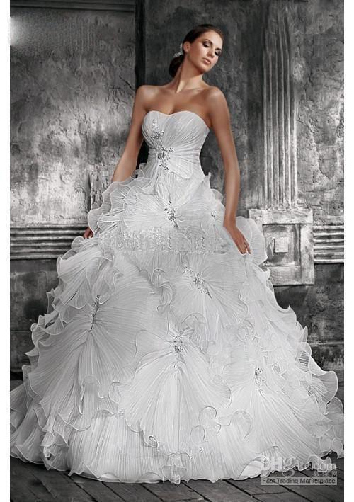 ball gown chapel train organza ruffle applique beads wedding dress