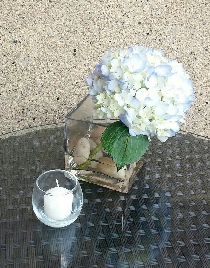 Simple hydrangea centerpiece array designs by cathleen