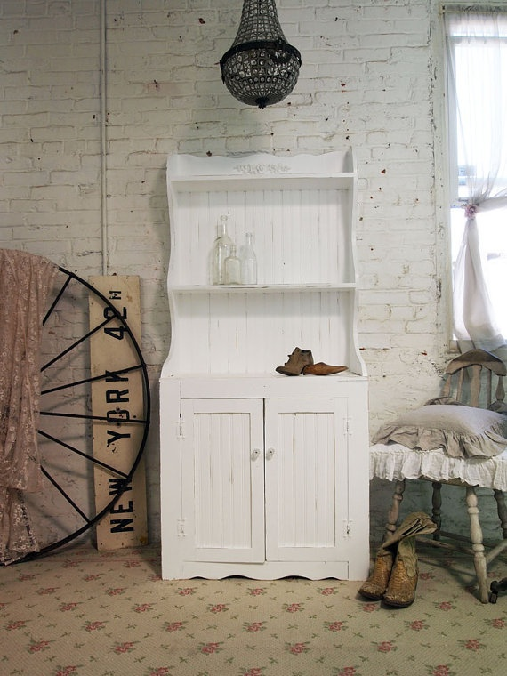 Painted Cottage Chic Shabby White China Cabinet by paintedcottages, $395.00