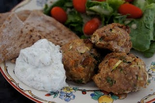 Greek Turkey Meatballs and Skinny Tzatziki