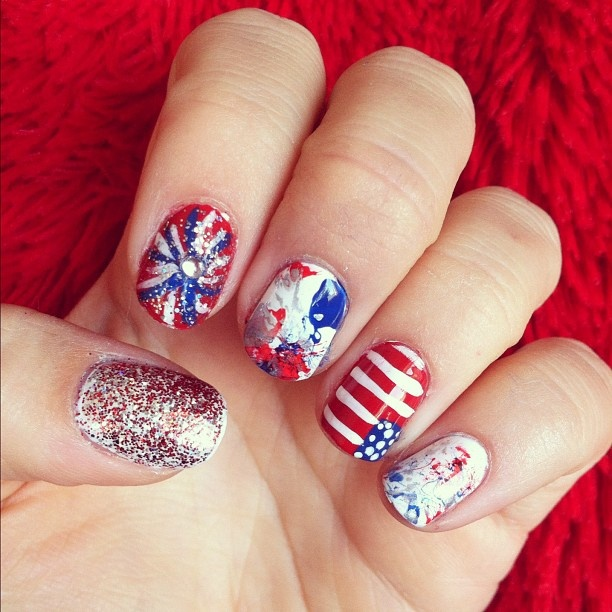 4th of july nail designs for short nails