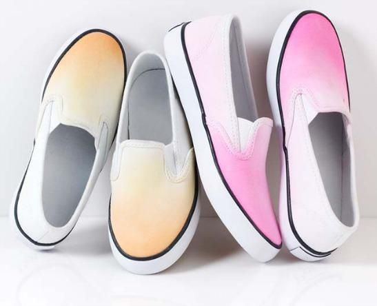 Make these ombre sneakers with our favorite #marthastewartcrafts paint colors for May!