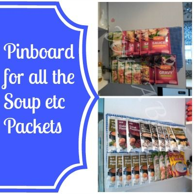 Soup Packets Pinboard ~ a clever and easy way to organize and store dry goods!  #storage #organizing #kitchen #pantry