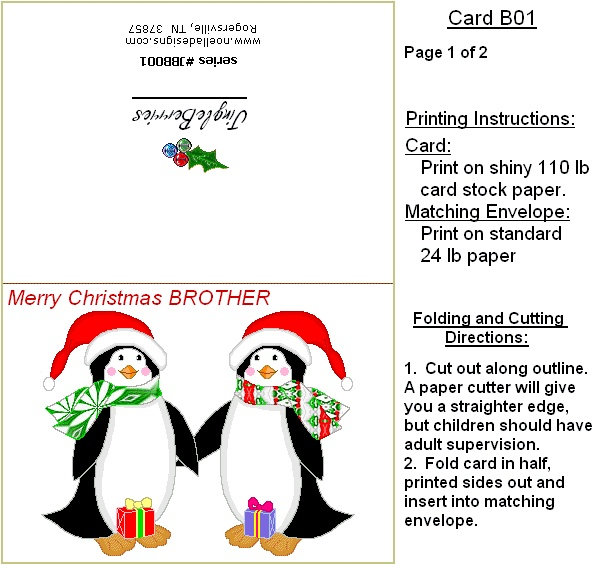 brother penguin printable christmas card   christmas   Pinterest