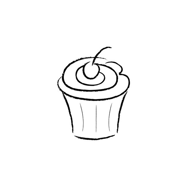 Cupcake Clipart Image - Black Outline Of A Cupcake With A ...