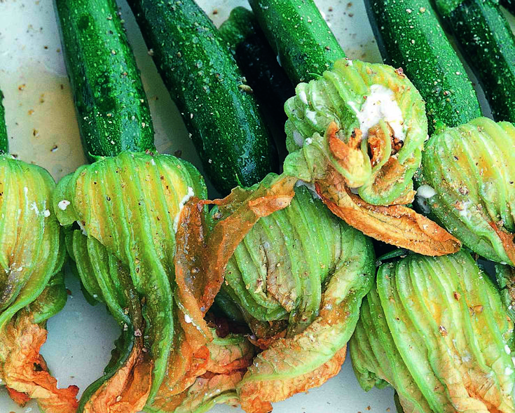 grilled squash blossoms with squashlets | Garden | Pinterest