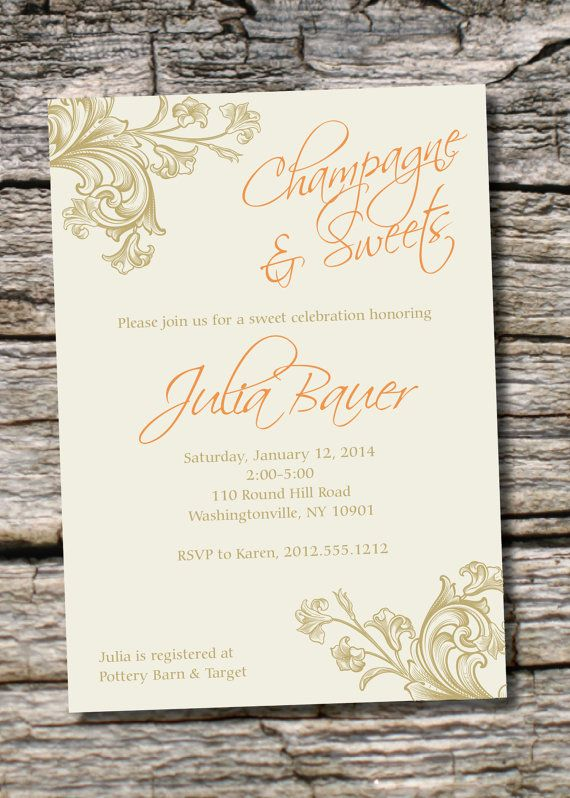 CHAMPAGNE & SWEETS Bridal Shower Dessert Shower Invitation - You Print