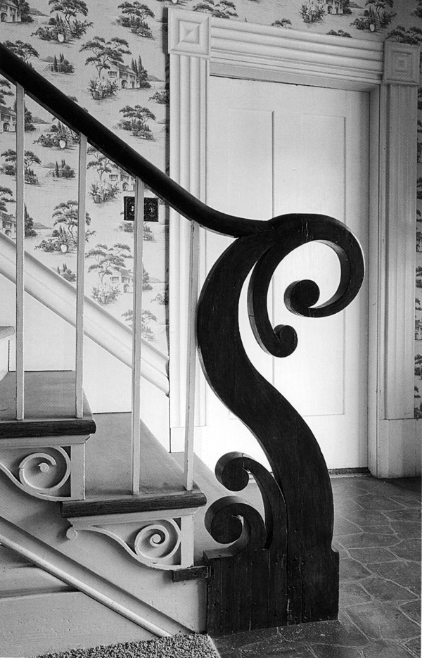 """Stair newel detail: Hunt House, in """"Thomas Day: Master Craftsman and Free Man of Color"""" (working North Carolina and Virginia, mid-19thC.)"""