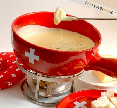 Swiss fondue caquelon (Kiss the Cook, if you drop your bread in the ...