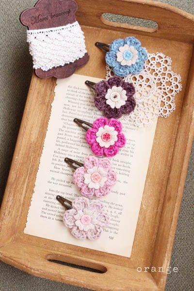 Crochet Hair Pins : crochet flower hair pins HEKEL IDEES Pinterest