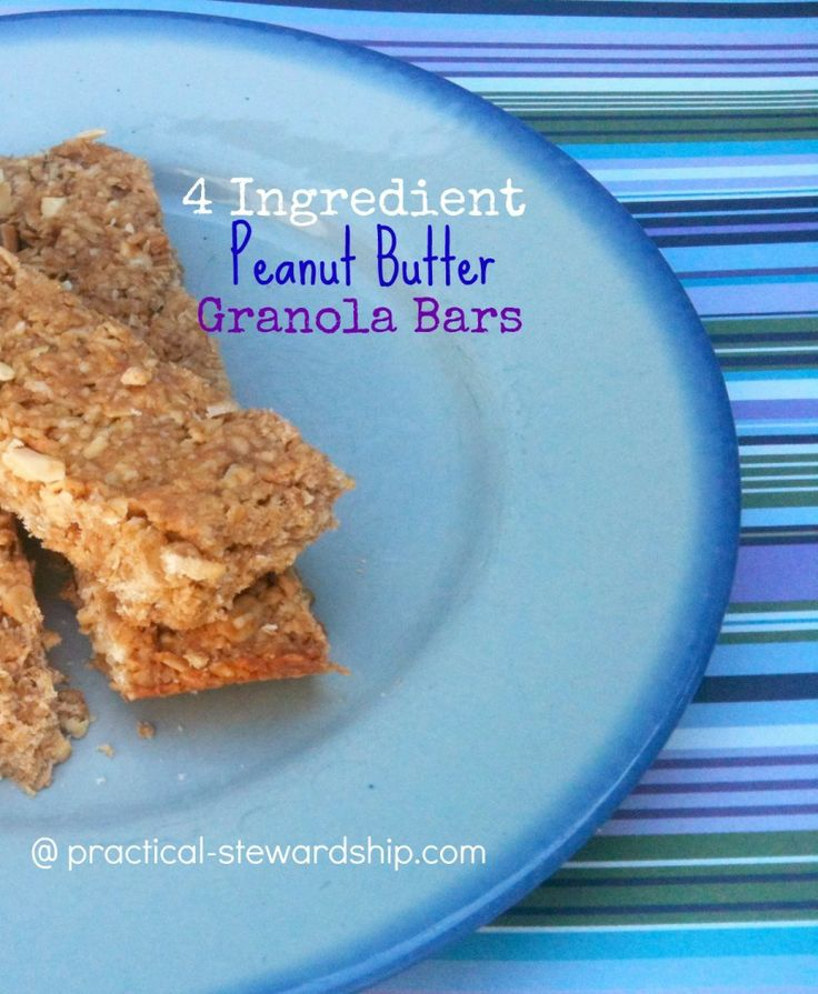 4 Ingredient Peanut Butter Granola Bars    Ingredients        -4 cups old fashioned oats (Gluten-Free if needed)      -1 cup honey (use agave for vegan)      -3/4 cup natural peanut butter      -1/2 cup peanuts      -optional, 3 T TriMix (1 T Wheat Germ, 1 T Wheat Bran, 1 T Oat Bran) omit for G-F      -optional, 1 T ground flax seed      -optional, 1/4 cup peanut butter or chocolate chips     Instructions        Grease the bottom and sides 9x13 pan well.      Preheat oven to 350 degrees.      Co