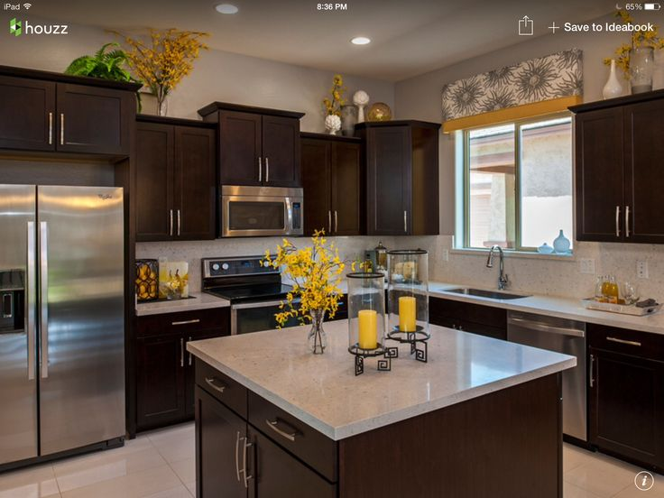 Dark cabinets with light granite for Light and dark cabinets