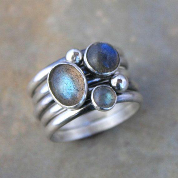 Stacking Rings Labradorite Sterling Silver Set of 5 by KiraFerrer, $95.00