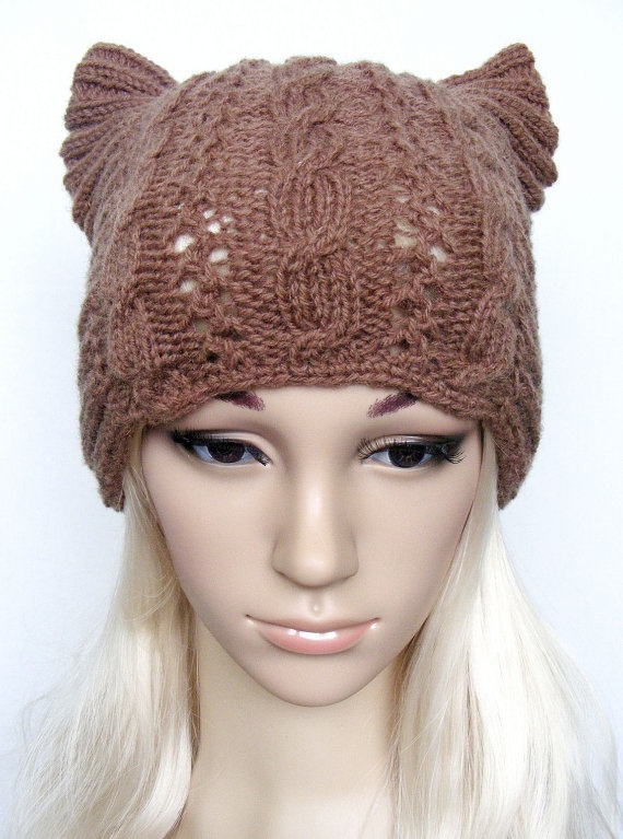 Knitting Pattern For Beanie With Ears : Knitted cat ear hat, womens cat hat, knit cable beanie ...